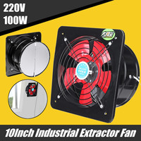10Inch 220V 100W Metal Axial Exhaust Commercial Air Blower Fan Industrial Ventilation Extractor Kitchen Toilet Exhaust Fans