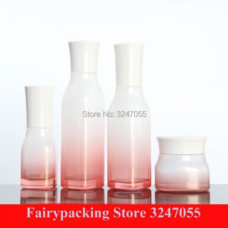 10pcs/lot 120ml100ml40ml Cosmetic Lotion Pump Glass Bottle, Empty Cosmetic Toner Liquid Vials, 50G Beauty Skin Care Cream Jar glass bottle