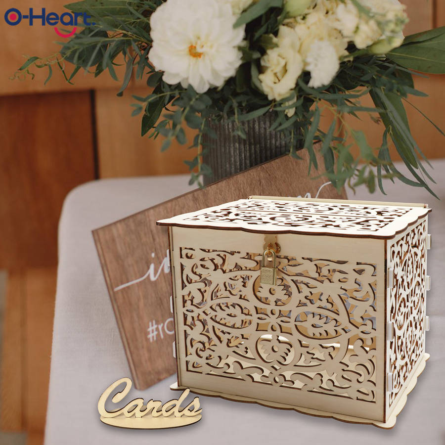 OHEART DIY Wedding Card Box For Table Rustic Money Box With Lock Birthday Letter Gift Box Graduation Baby Shower Decoration in Wedding Card Boxes from Home Garden