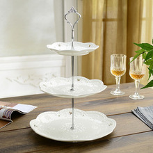 Cake Stand Plate Bracket Metal 2 Tier Cupcake Fittings Silver Golden Wedding Party Fruits Tool Plates