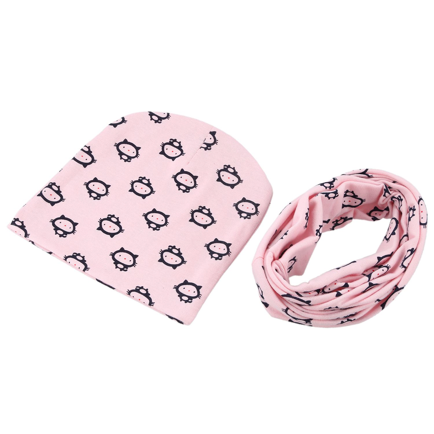 Baby Hat And Scarf Set, Beanie Hat With Snood Scarf Neck Warmer For Infant Kids Pink