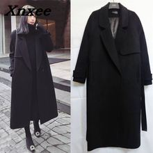 Women long woolen coat with belt long sleeve female overcoat loose cashmere outerwear winter autumn trench coats plus size Xnxee floral trench coat women autumn and winter fashion runway plus size vintage royal embroidery lady woolen overcoat female m 4xl