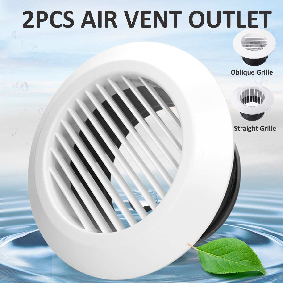 2pcs 4 inch Louver Air Vent Grille Home Exhaust Fan 95mm Outlet Ceiling Wall Mount Round ABS Cover Bathroom Air Cooling Vents