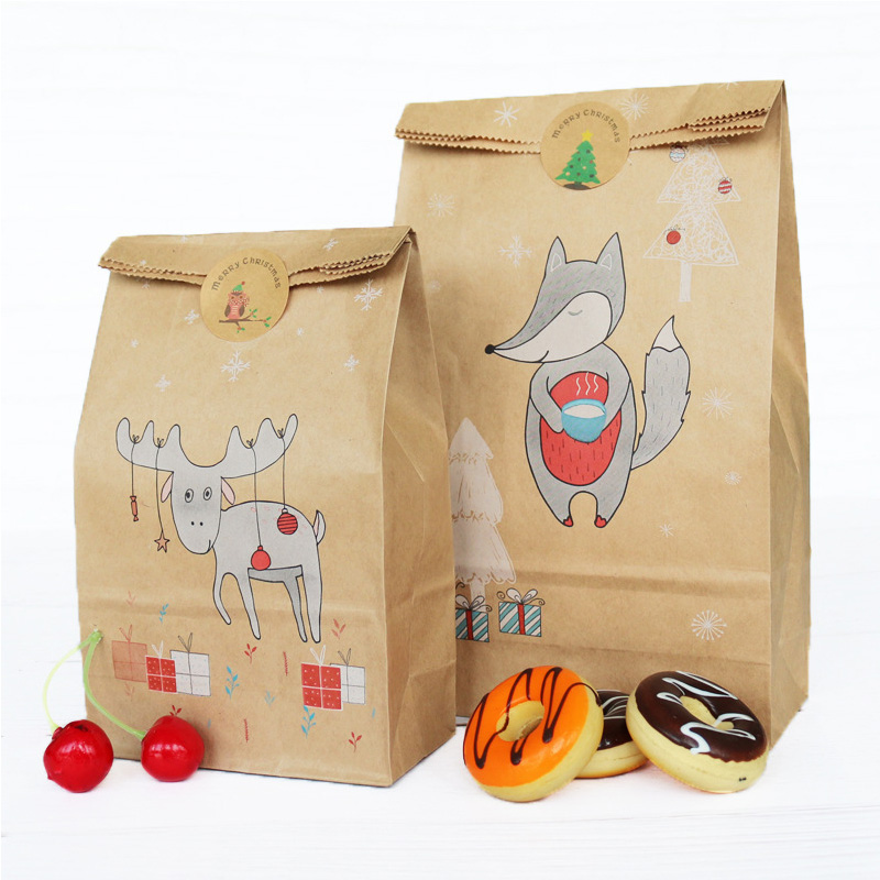 Paper Stickers Fox Moose Snowflake Food Cookies Christmas Gift Paper Bag Kraft Paper Bag Packing Paper Bags Wrapping Supplies