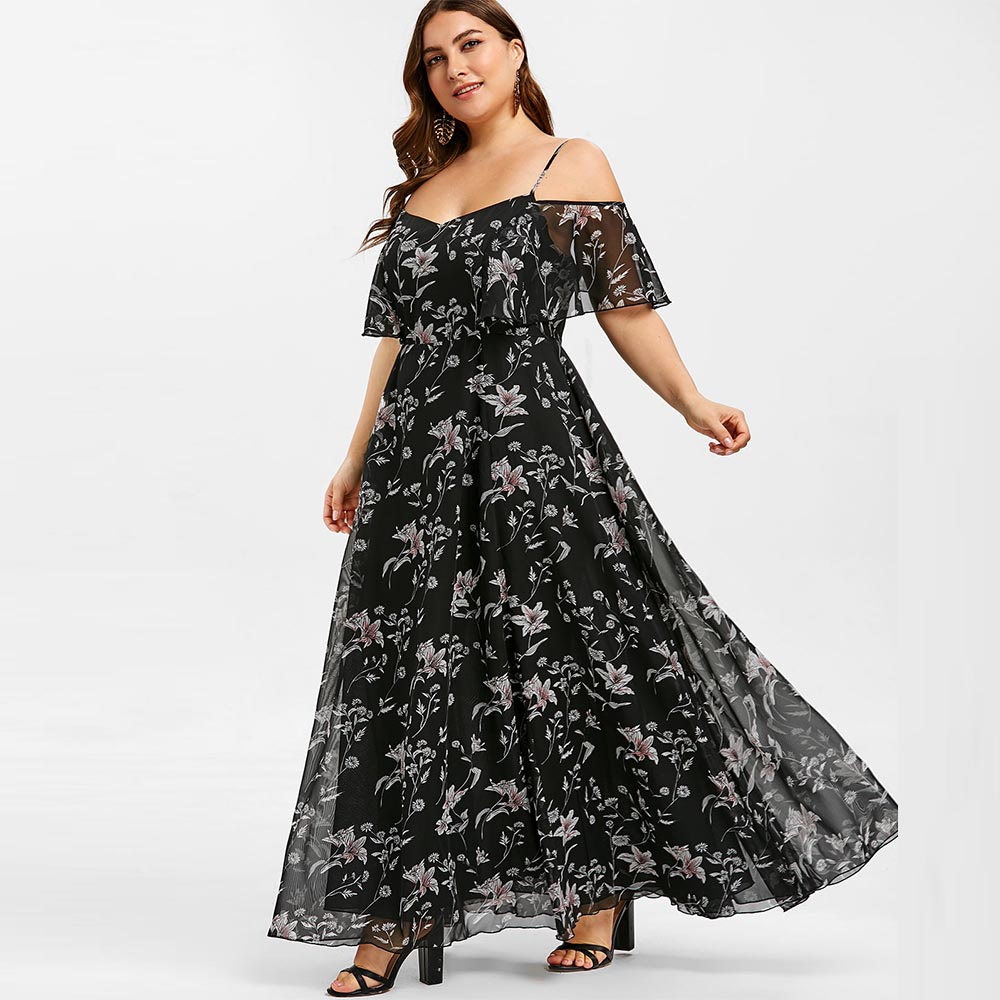 Rosegal Plant Print Plus Size Cold Shoulder Dress Sexy A-Line Floor-Length Party Dress Summer Half Sleeves Bohemian Dress