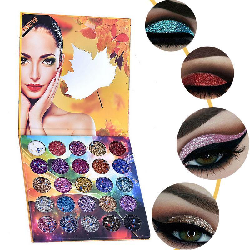 25 Colors/Box Fashion Diamond Glitter Eyeshadow Cosmetics Eye Shadow Tray Pearlescent Sequins Glitter Makeup Set Cosmetics