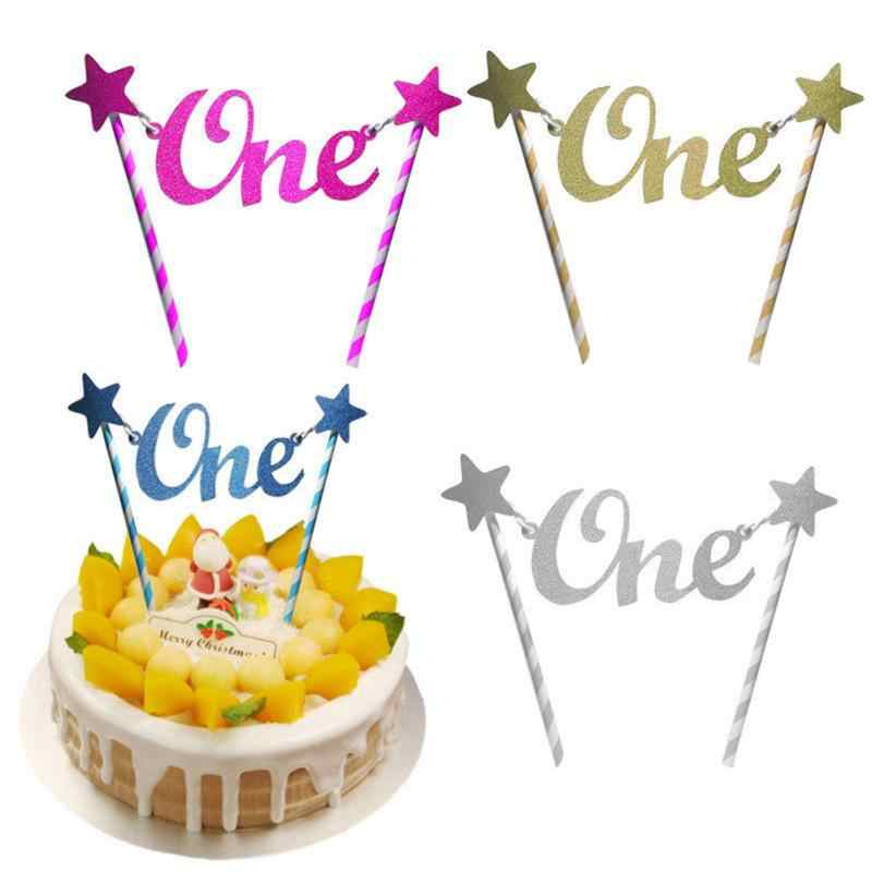 Unique Glitter Star One 1st Happy Birthday Cake Topper Bunting Banner Decorating For Party Decor