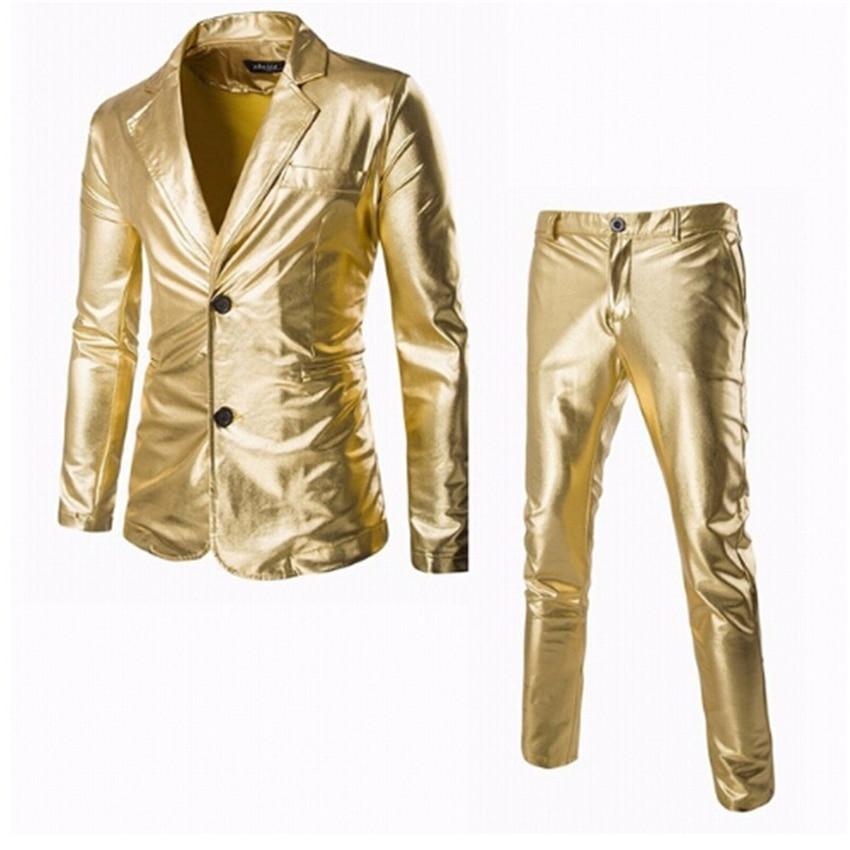 Men Gold Silver Metallic Shiny Suits Night Club Dancing Blazer+pants Set Man Trend New Stage Party Slim Fit Dress Suit