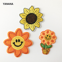 Sunflower Beautiful flowers plant Embroidered Iron on stickers DIY individual personality Clothing