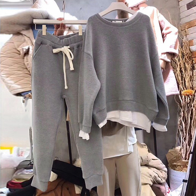 2018 חורף טלאי סווטשירט שתי חתיכה סטי נשים ארוך שרוול ורוד חליפות O-צוואר מקרית שרוכים מותניים אפור חם סטים
