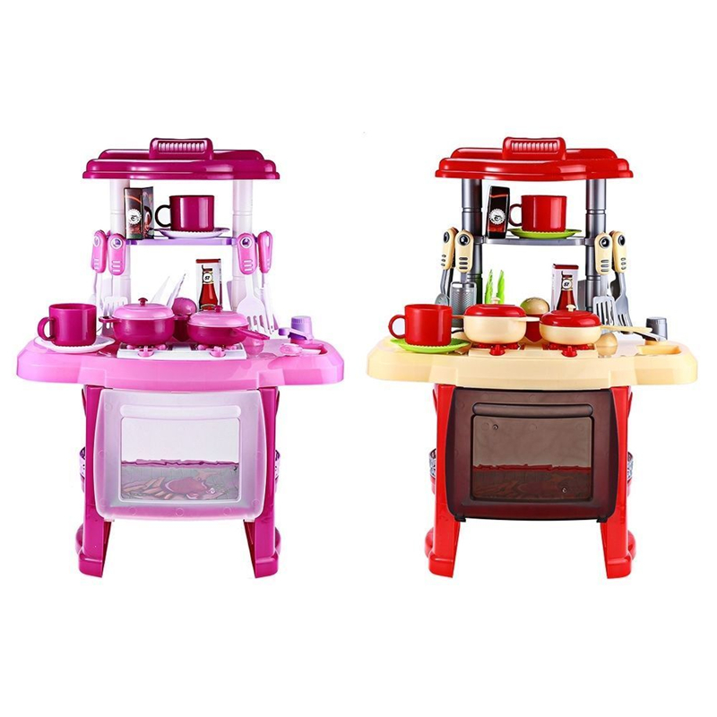 Kids Girl Kitchen Toys Birthday Gifts Portable Electronic Lights Kids Pretend Play Classic Kitchen Cooking Girl Toy Cooker Gift