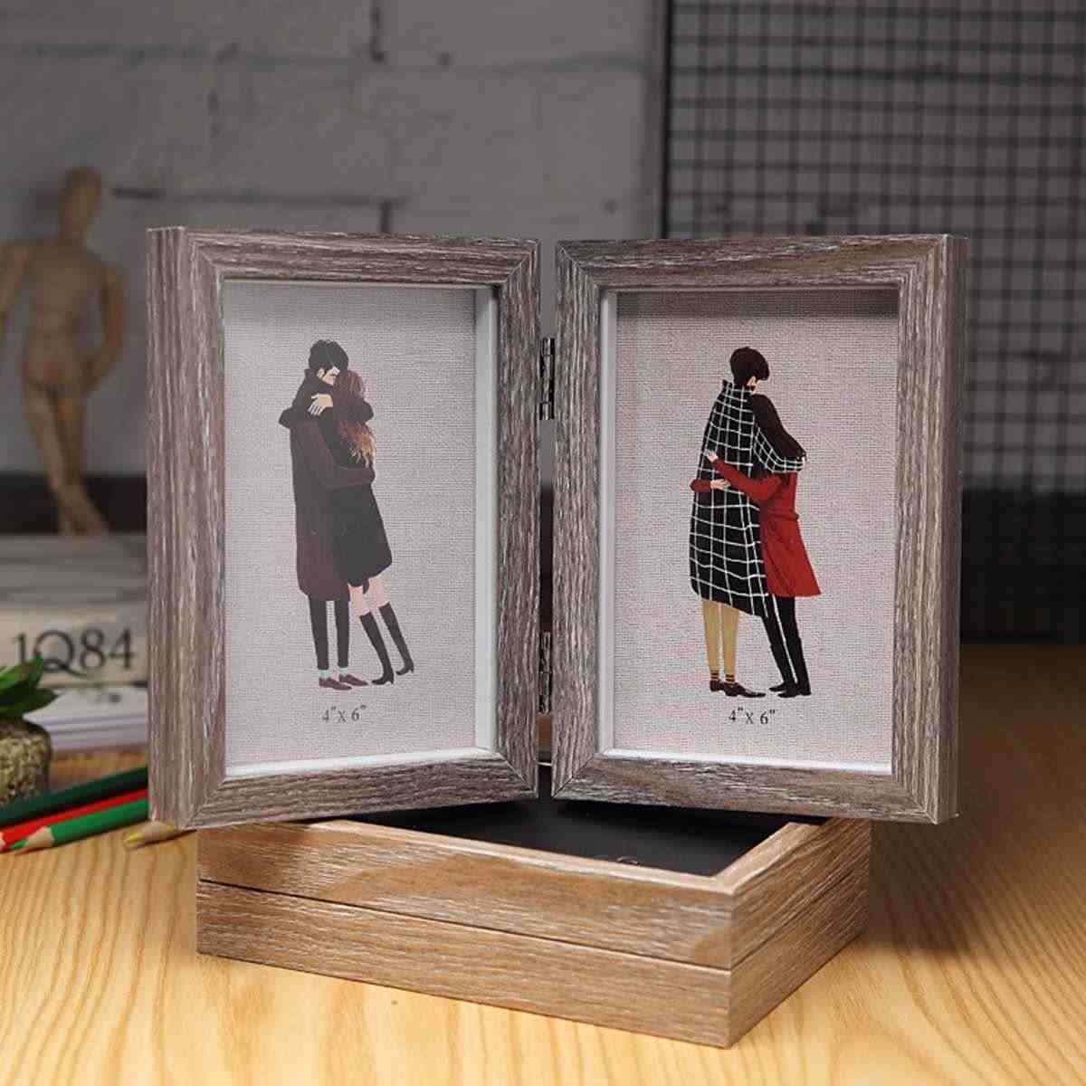Lover Photo Frame Fashion Art Wooden Wedding Mini Pictures Frames Vintage DIY Family Frame Home Decor Double Picture Frame