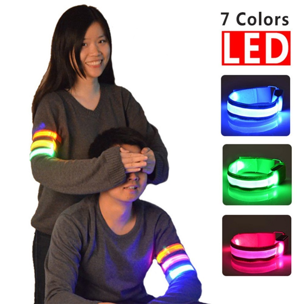 LED Reflective Light Arm Armband Strap Safety Belt For Night Running Cycling Holiday Parties Reflective LED Light Arm Armband