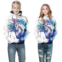 Купить с кэшбэком Children's clothing spring autumn Europe and the United States new cotton 3d digital printing hooded long-sleeved sports sweater