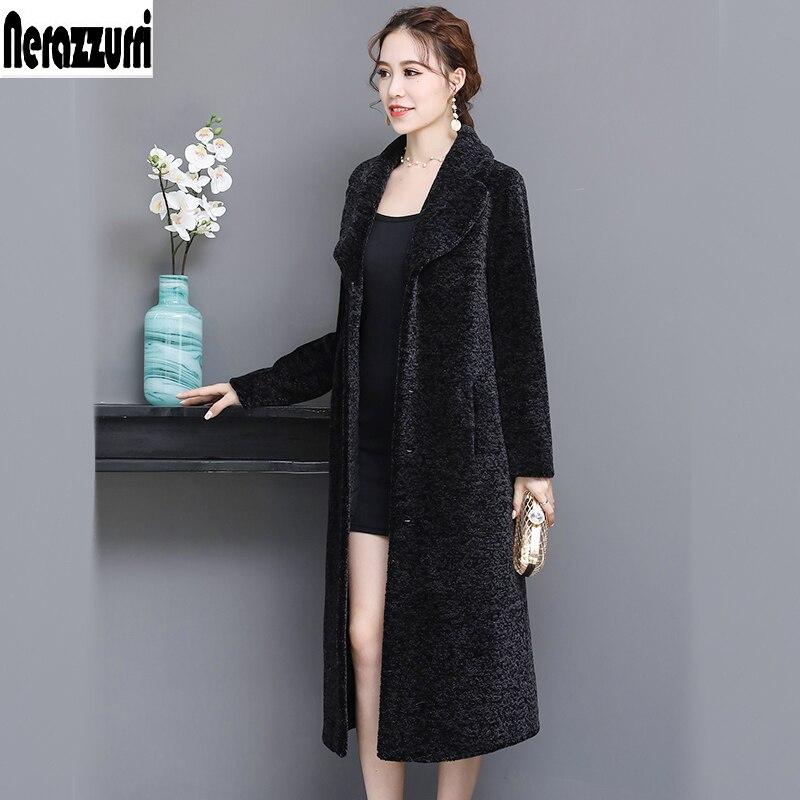 Nerazzurri long manteau de fourrure de mouton réel femelle épaissir chaud grande taille manteaux de fourrure naturelle femmes à manches longues shearling outwear 5xl 6xl