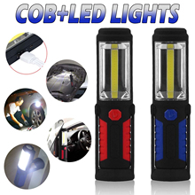 цена на 2in1 COB LED Magnetic Work Light Rechargeable Hand Torch Flexible Inspection Lamp Cordless LED Worklight Flashlight With Hook