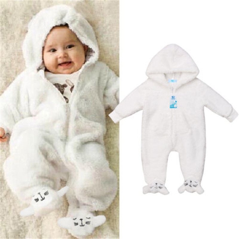 Newborn Baby Boys Girl Hooded Romper Jumpsuit Outfits Babygrows Playsuits VS