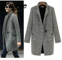 Fashion long woolen women plaid coat wool blend coat tweed outwear female turn down collar long sleeve jacket coat Xnxee