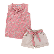 Toddler Kids Baby Girls Floral Bowknot Vest T-Shirt+Shorts Outfits Clothes Set Stylish Bebe Set Sweet Sleeveless Tops цена в Москве и Питере