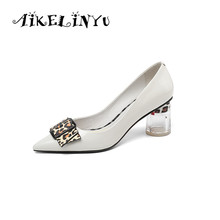 AIKELINYU New Spring Handwork Pointed End Classic Lady Shoes Fashion Leopard-print Butterfly Sexy Office Woman Pumps Black White