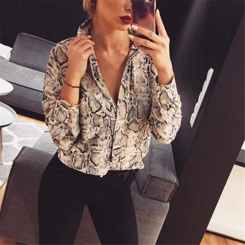 Women Leopard/Snake Skin Printed Blouse 2019 Spring Autumn Long Sleeve Lapel Blouse Button Down Casual Loose Tops Stylish Shirt