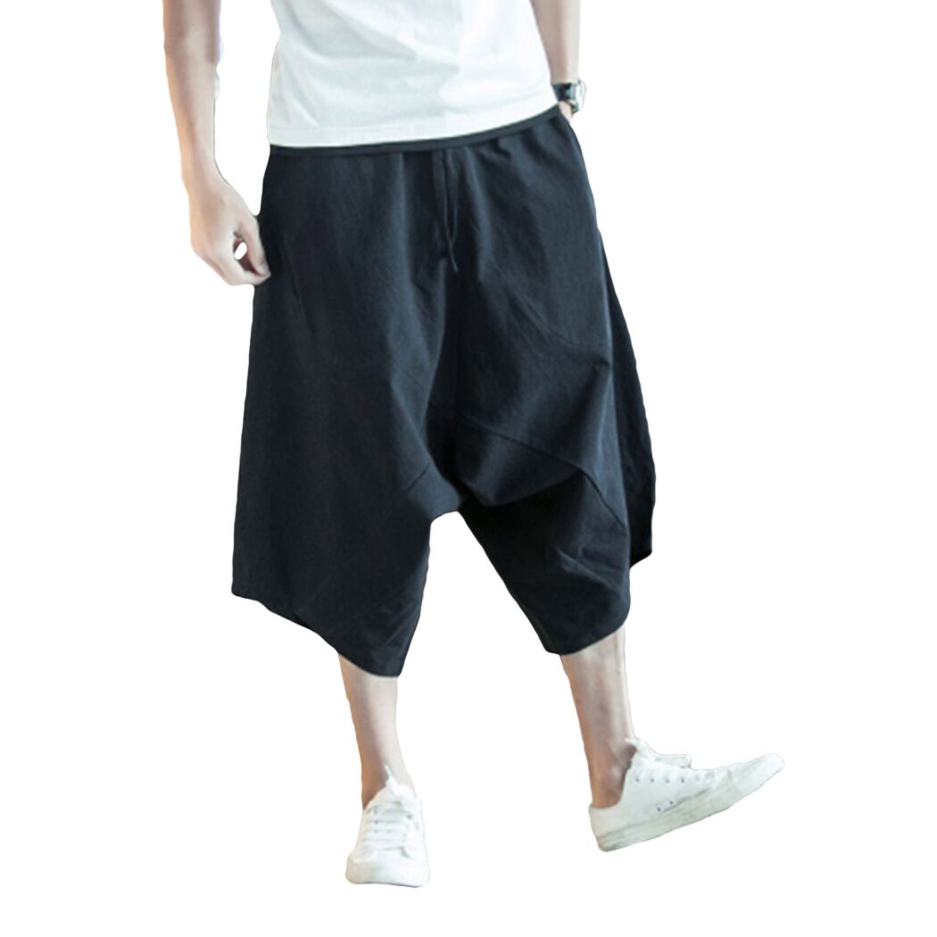 Harem Pants Trousers Chinese-Style Large Summer Fashion Men Flaxen Bloomers Cropped Wide-Crotch