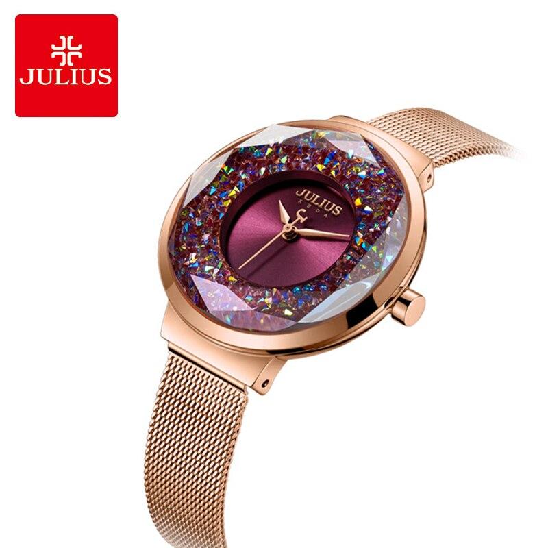 Marca de Luxo Julius Colorido Mulher Relógios Rosa Vestido Ouro Senhoras Aço Inoxidável Pulseira Relógio Cristal Quartzo