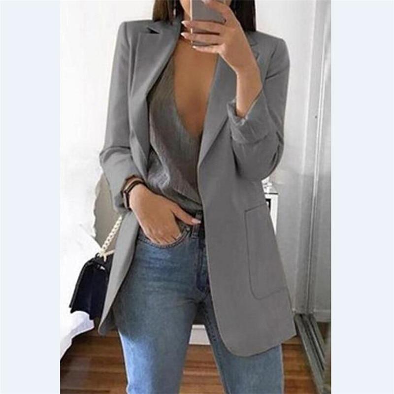 Elegant Women Button Slim Casual Business Blazer Suit Long Sleeve V-Neck Solid Jacket Coat Outwear Varieties IT Autumn Clothes
