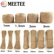 Meetee 1-14mm Natural Jute Hemp Rope DIY Handmade Decorative Twisted Cord Christmas Event Party Bags Supplies AP495