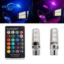 Enjoydeal 2 pc 5050SMD 6LED RGB Lâmpada de Luz Auto Car Wedge Side Lâmpada Luz W/Controle Remoto Carro Multifunções lâmpada do Bulbo