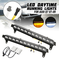 for Audi Q7 2007 2008 2009 Pair 12V LED White Daytime Running Lights DRL 6000 6700K with Yellow Turn Signal Lamp 11 LED /pcs