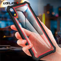USLION Armor Protection Case For iPhone XS Max Transparent PC + TPU 2 IN 1 Phone Cases for iPhone Xs Max Clear Back Cover
