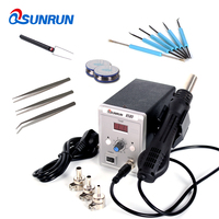 Qsunrun 858D 110V / 220V 700W 858D+ ESD Soldering Station LED Digital Solder Iron Hot Air Gun With Free Gifts For Welding Repair