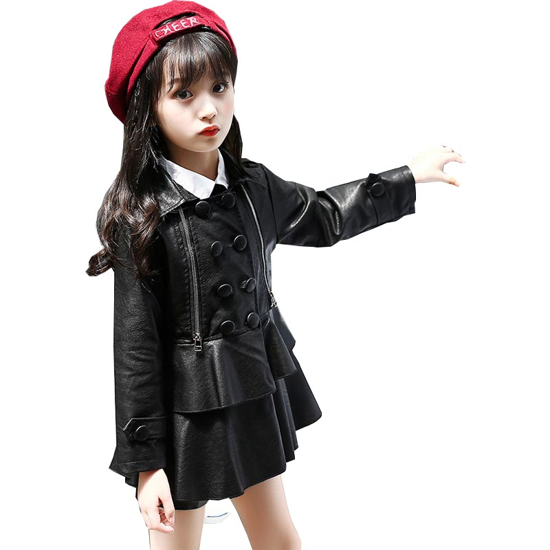 Girls jacket children's clothing spring and autumn new baby long-sleeved double-breasted lapel leather fashion pu jacket