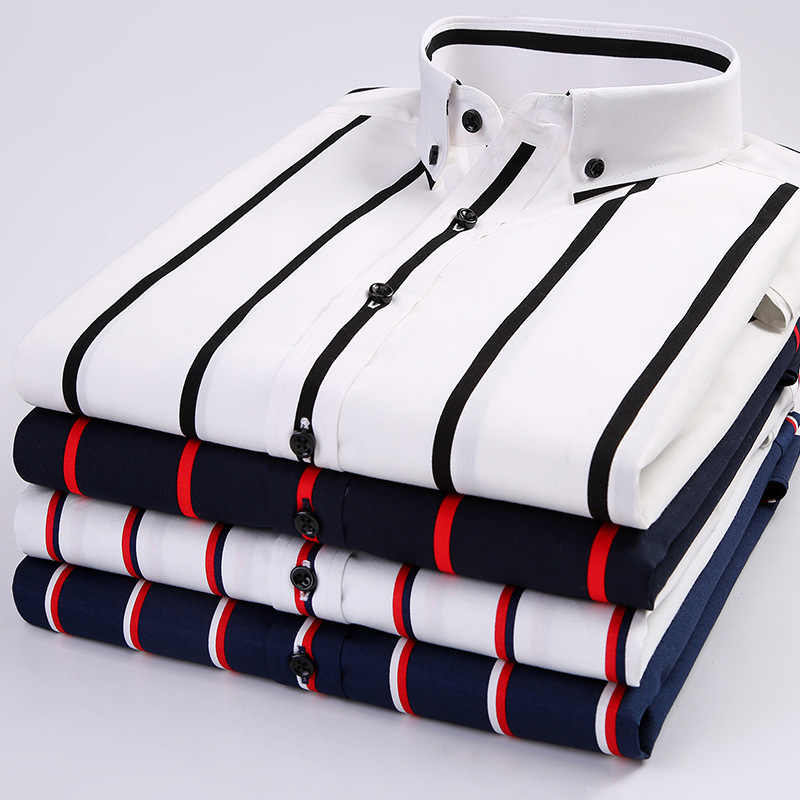 2019 New Summer Men Shirt Cotton Striped Short Sleeve Casual Shirts Button Down Collar Slim Fit