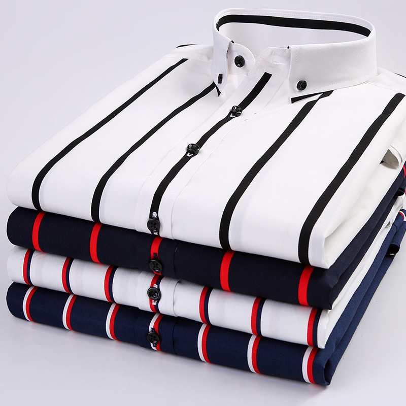 2019 New Summer Men Shirt Cotton Striped Short Sleeve Casual Shirts Button Down Collar Slim Fit