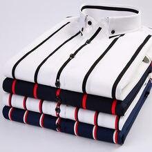 Moda verão camisa masculina algodão listrado manga curta camisas casuais botão para baixo colarinho fino ajuste roupas clássicas