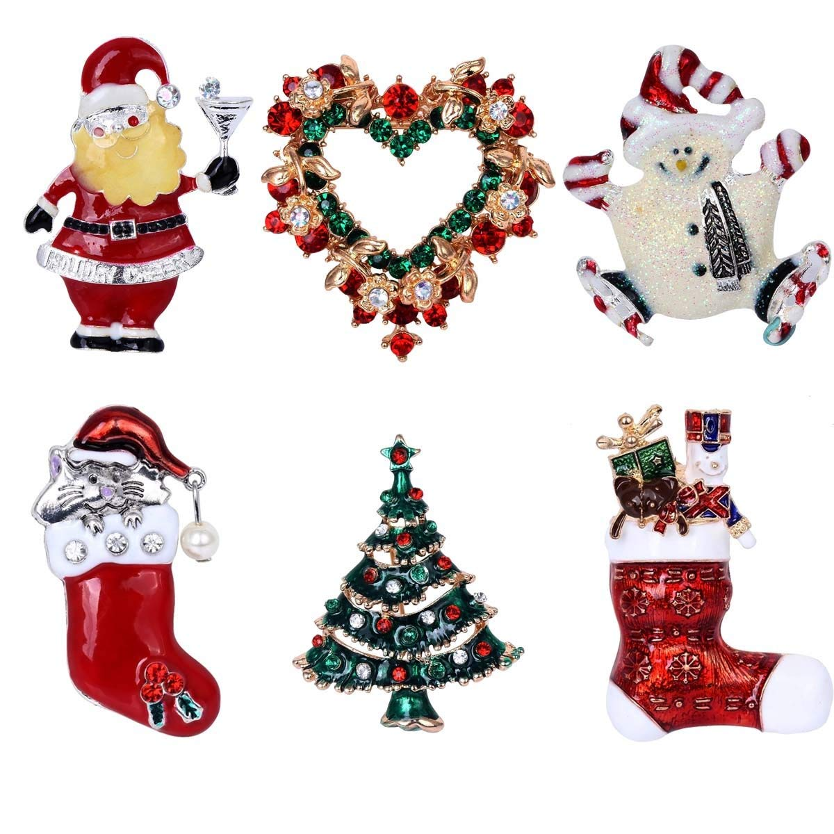 Hot sale 6 Pieces Multi-colored Christmas Brooch Pin Set Red Heart Hat Snowman Santa's Boots Christmas Tree Christmas Gift