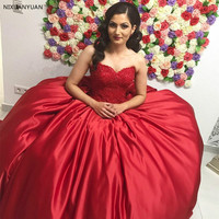 2019 Red Lace Satin Sweetheart Strapless Sleeveless Corset Ball Gown Prom Dresses Dresses Quinceanera Dresses