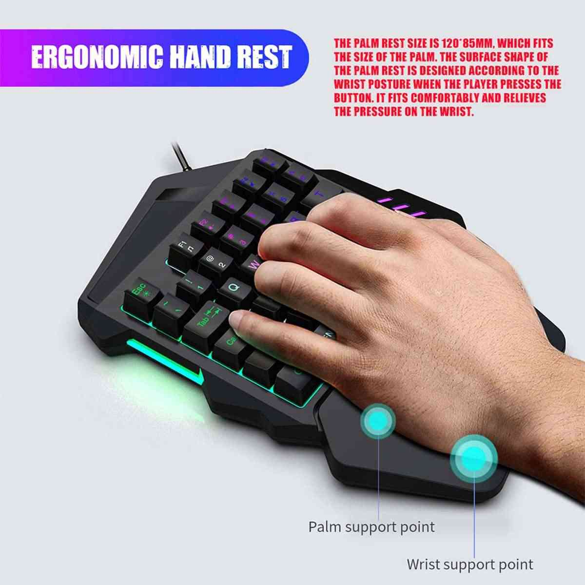One-handed Keyboard&Mouse Mechanical Hand Game Artifact Left Hand Game  Keypad for Game LOL /Dota / OW / PUBG / Fortnite Black