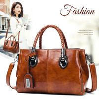 Luxury Fashion Casual Boston Totes Bags Handbags Women Famous Brands PU Leather Brown Vintage Bag Female Shoulder Bag For Ladies