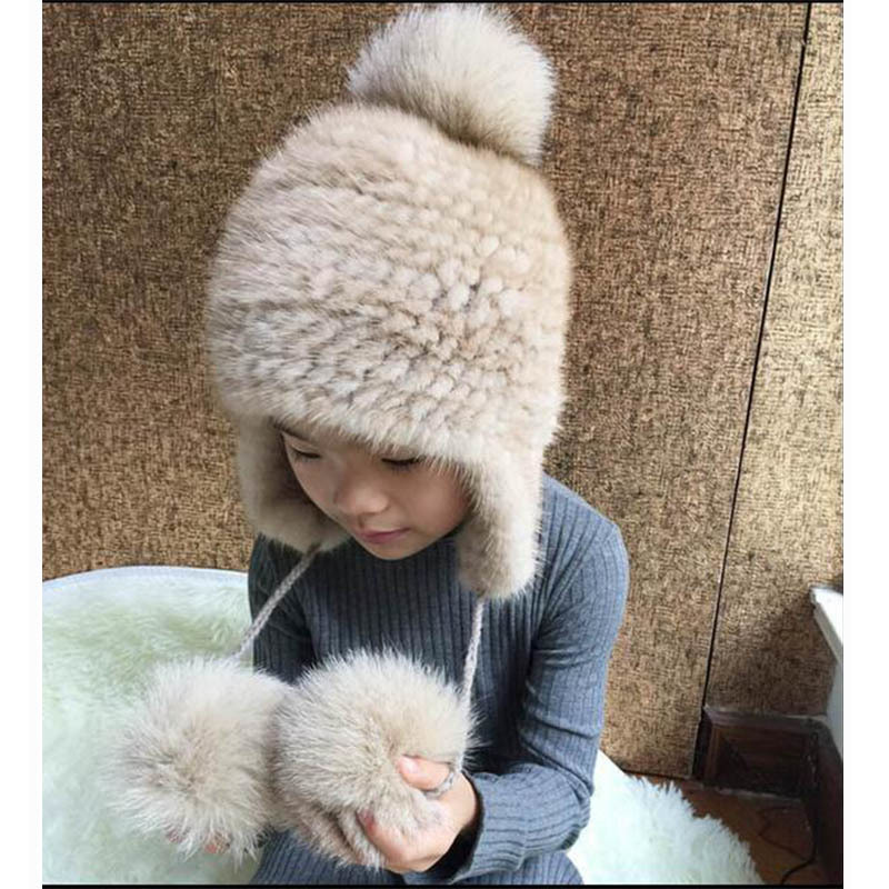 Hat Sale Children Real Mink knited Fur Hat Fox Fur PomPom Top Hats Winter Warm Thick Knitted Mink Fur Kids Beanies Cap H#18 winter fur hat women real rex rabbit fur hat with silver fox fur flower knitted beanie new sale high end women fur flowers cap