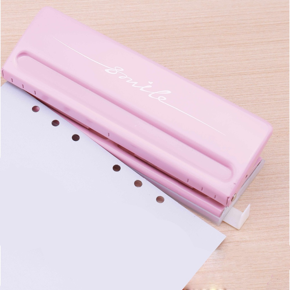 Metal 6 Hole Punch Pink Craft Punch Paper Cutter Adjustable DIY A4 A5 A6 Loose-Leaf Paper Punch Scrapbooking Office Stationery