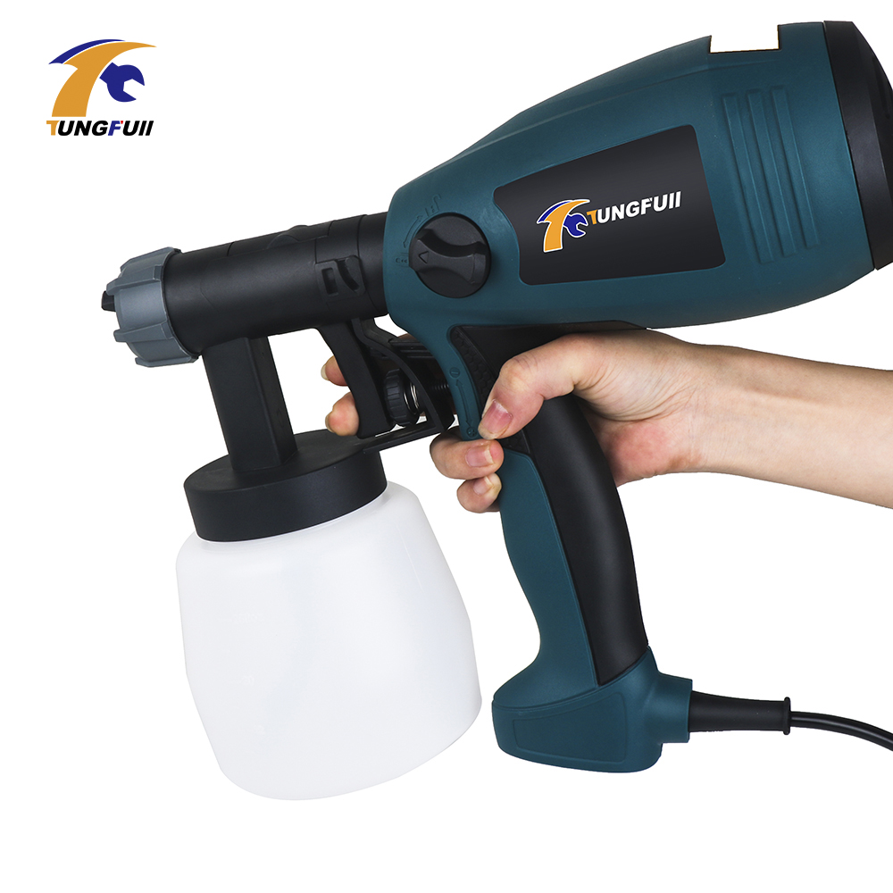 Tungfull 220V 500W Electric Spray Gun HVLP Paint Sprayer For Painting with Adjustable Flow Control and 3m Cable