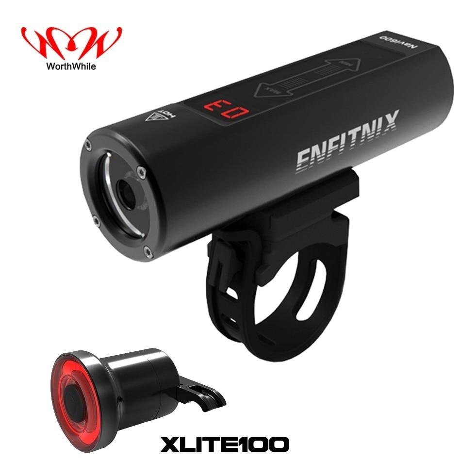 WorthWhile Navi600 Smart  Bike Front Light Sensing Intelligent Flashlight For Bicycle Xlite100 Rear Light USB Charging Tailight