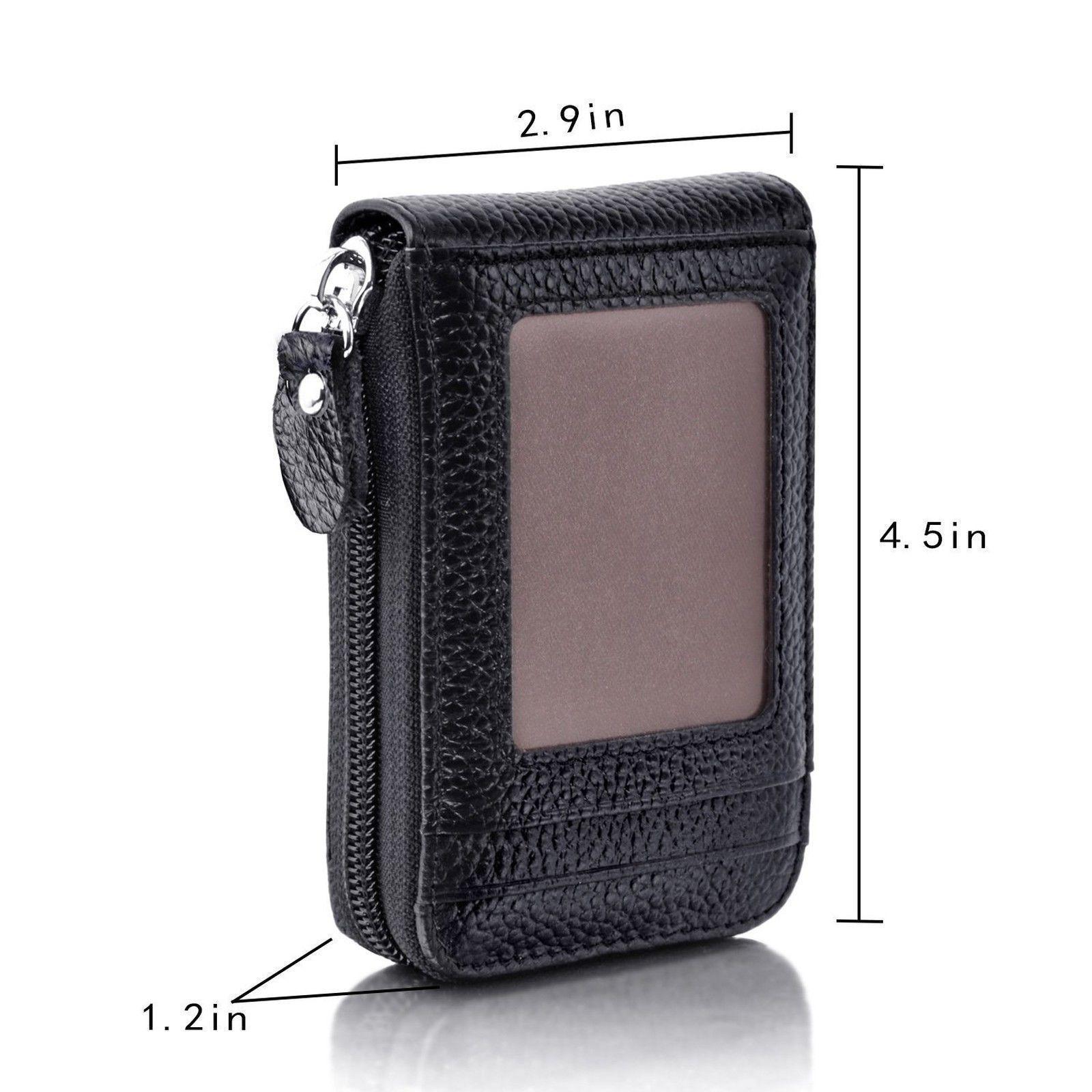Купить с кэшбэком Men Wallet Bag Leather Credit Card Holder RFID Blocking Zipper Pocket Bags