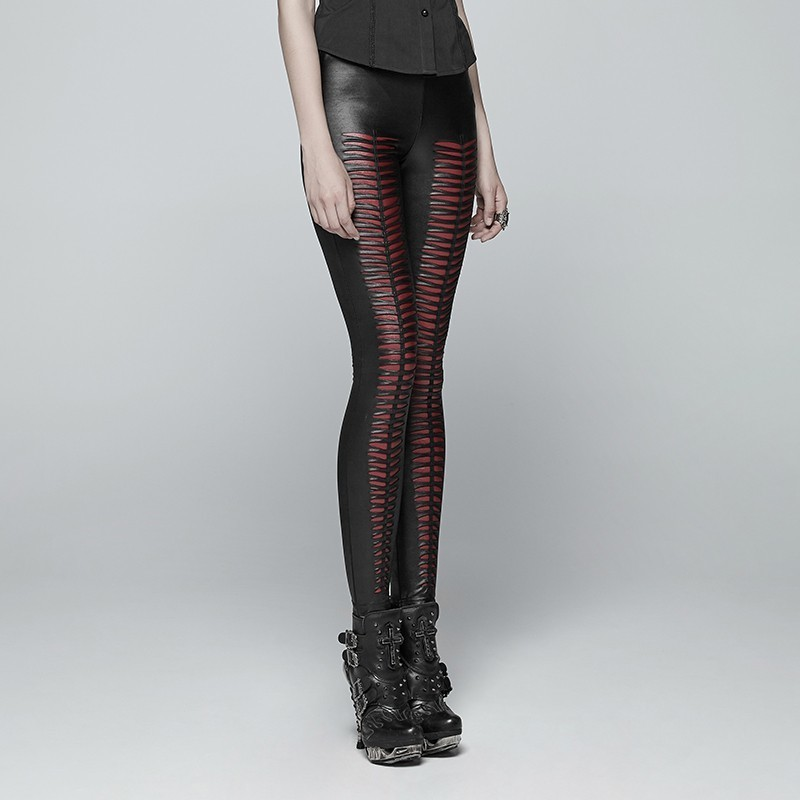 Панк рейв Новый дьявол в готическом стиле следы черные женские леггинсы модные выдалбливают панк эластичные женские тонкие сексуальные те... - 3