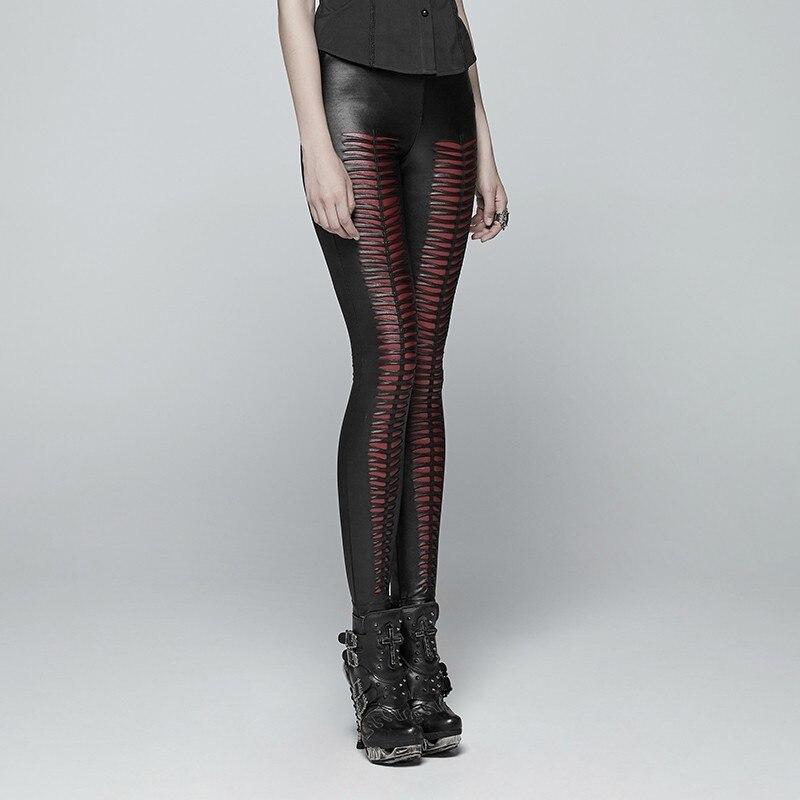PUNK RAVE New Gothic Devil Footprints Black Women Leggings Fashion Hollow Out Punk Stretchy female Slim Sexy Dark Pants - 3