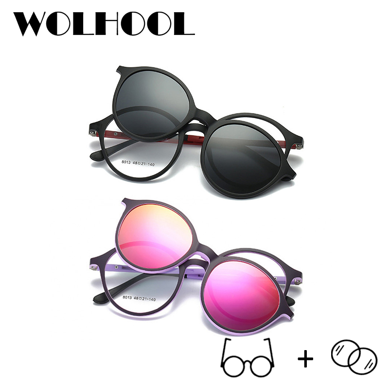 WOLHOOL Men Spectacles Pink Optical Frame Women Polarized Myopia Glasses Clip On