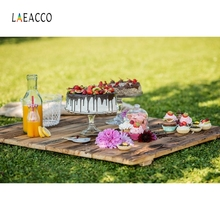 Laeacco Grassland Have Picnic Backdrop Outdoor Portrait Photography Background Custom Photographic Backdrops For Photo Studio